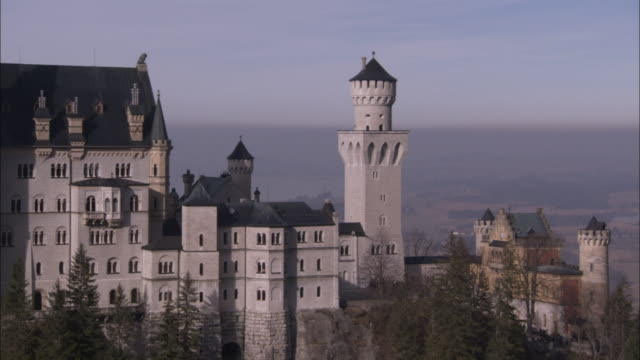 Towers and turrets decorate the exterior of Neuschwanstein Castle. Available in HD