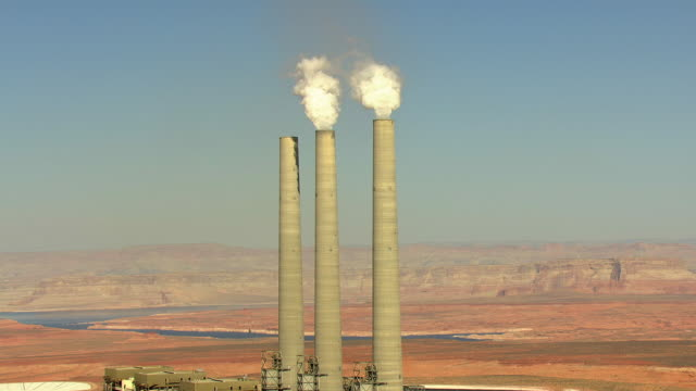 ms aerial zi towers at navajo generating station / arizona, united states - coal fired power station stock videos and b-roll footage