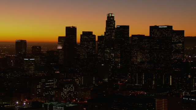 towers in downtown la at twilight - city of los angeles stock videos & royalty-free footage
