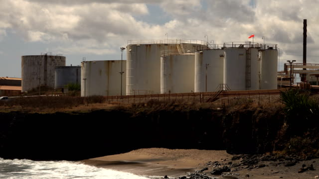 towers of nuclear power plant on kauai island - butte rocky outcrop stock videos & royalty-free footage