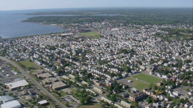 aerial town and harbor of new bedford / massachusetts, united states - new bedford stock videos & royalty-free footage