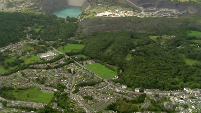 aerial, town and slate quarry, conwy, wales - snowdonia stock videos & royalty-free footage