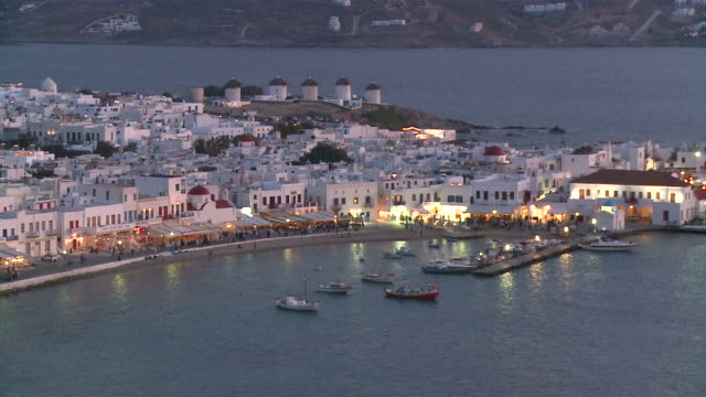 ws town at night / myconos, cylades islands, greece - mykonos stock videos and b-roll footage