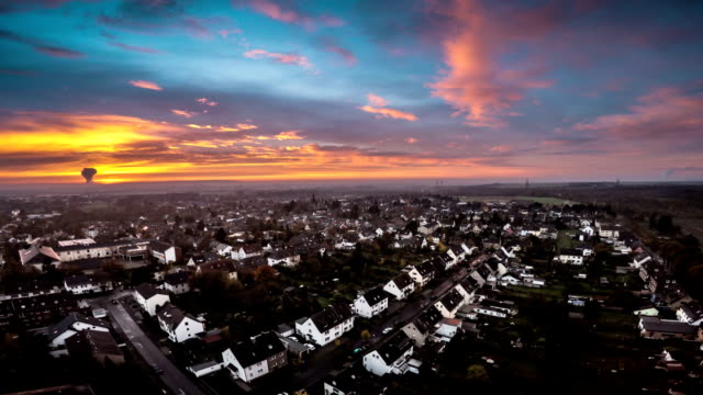 AERIAL : Town at Sunset
