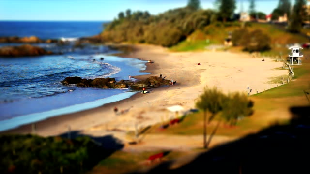 town beach port macquarie, australia - tilt shift effect (hd) - figurine stock videos and b-roll footage