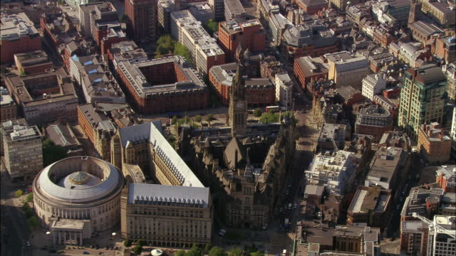 aerial, town hall and city center, manchester, england - manchester england stock videos and b-roll footage