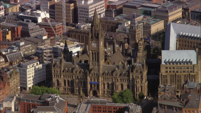 AERIAL, Town Hall and city center, Manchester, England