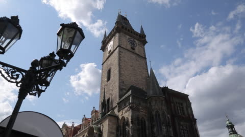 town hall clock tower, old town square, prague, czech republic, europe - prague old town square stock videos & royalty-free footage