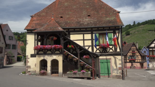 Town hall, half-timbered house in medieval village