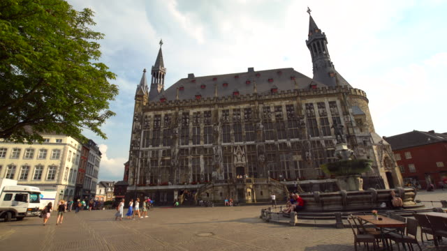 town hall in aachen, time lapse - rathaus stock videos & royalty-free footage