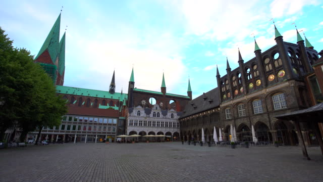 town hall in lübeck - town hall stock videos & royalty-free footage