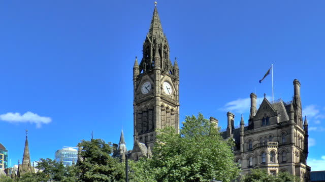 town hall - manchester, england - manchester england stock videos and b-roll footage