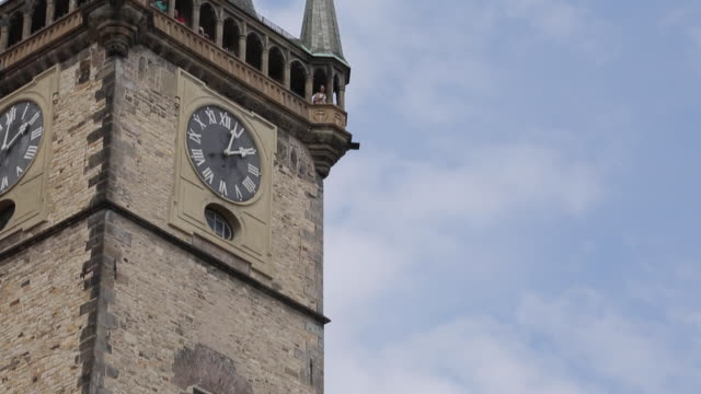 town hall & old town square, prague, czech republic, europe - clock tower stock videos & royalty-free footage