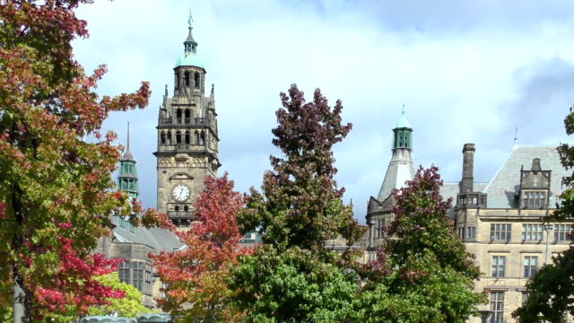 town hall - sheffield, england - yorkshire england stock videos & royalty-free footage