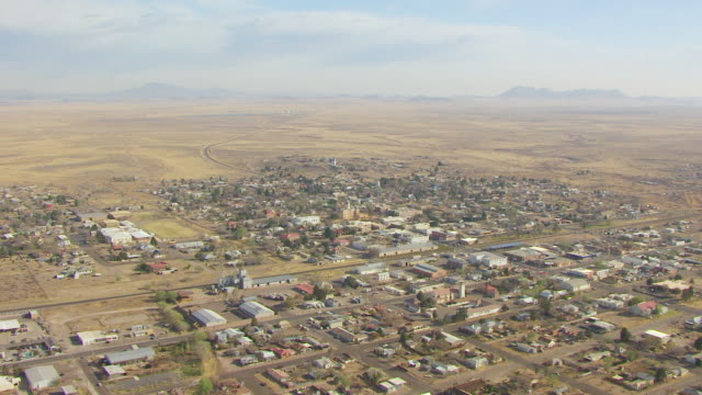 ws aerial town in chihuahuan desert / marfa, texas, united states - remote location stock videos & royalty-free footage