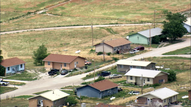 town in reservation - aerial view - south dakota, shannon county, united states - native american reservation stock videos & royalty-free footage