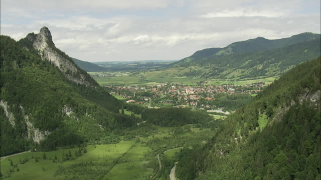 AERIAL Town in valley, Oberammergau, Bavaria, Germany