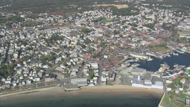 aerial town of gloucester / gloucester, massachusetts, united states - gloucester massachusetts stock videos & royalty-free footage