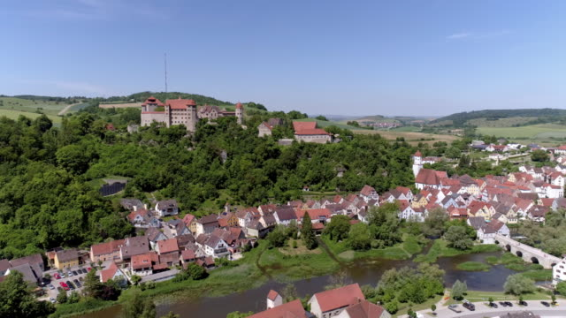 town of harburg and harburg castle - romantic road germany stock videos and b-roll footage