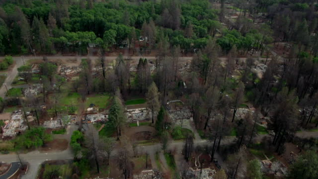 town of paradise after 2018 wildfire in california - emergencies and disasters stock videos & royalty-free footage