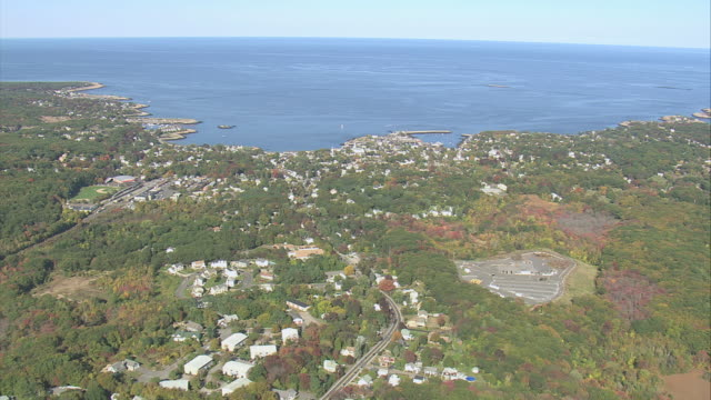 aerial town of rockport along the atlantic ocean / massachusetts, united states - rockport massachusetts stock videos & royalty-free footage