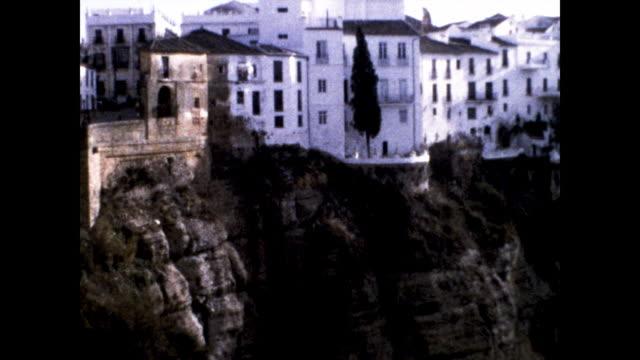 town of ronda viewed from the puente nuevo over the canon de el tajo. - puente stock videos & royalty-free footage