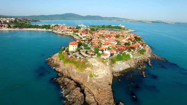 4K Town of Sozopol, aerial view, Bulgaria