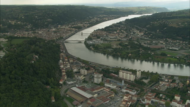 aerial ws town of vienne along rhone river / isere, france - rhone river stock videos & royalty-free footage