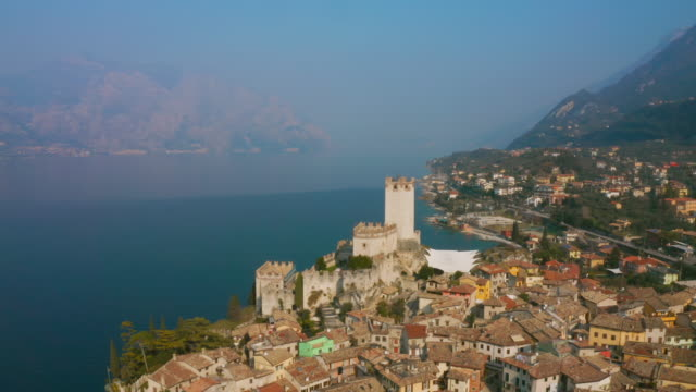aerial ws town on lake garda / italy - italy stock videos & royalty-free footage