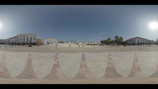 town square in the city of tavira in portugal - monoscopic image stock videos & royalty-free footage