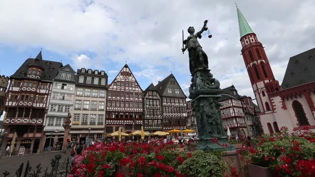 town square romerberg in frankfurt germany. - römerberg stock videos and b-roll footage