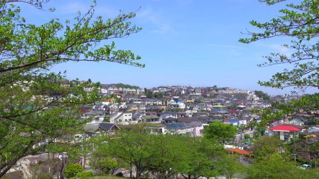 town view of rooftops -4k- - yokohama stock videos and b-roll footage