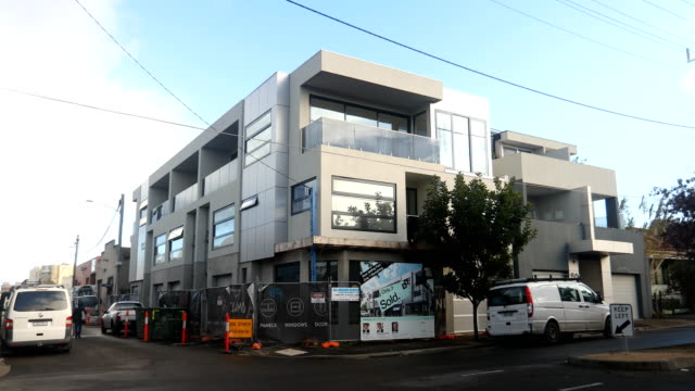 A townhouse complex in Kensington is seen nearing completion on July 20 2017 in Melbourne Australia Melbourne house prices have risen consecutively...