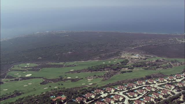 aerial ws townscape along coast towards cabo da roca / cascais, lisbon, portugal - cascais stock videos and b-roll footage