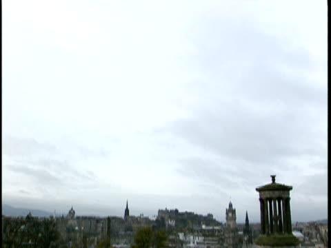 vídeos de stock e filmes b-roll de td, ws, townscape, edinburgh, scotland - estilo do século 16