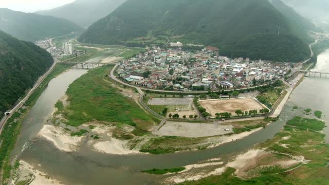 vídeos y material grabado en eventos de stock de townscape of joyang river area, jeongseon county, gangwon province, south korea - terrenos a construir