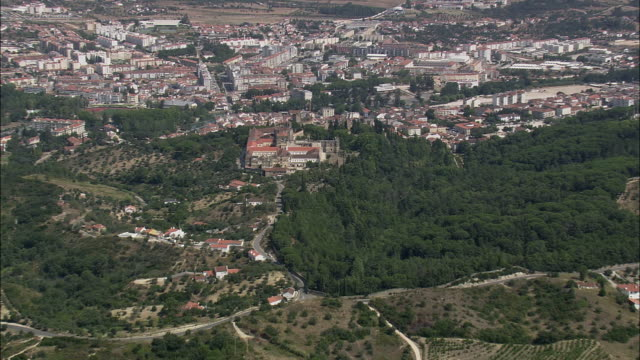 AERIAL WS ZI Townscape with Castle and Convent of the Order of Christ / Tomar, Santarem, Portugal