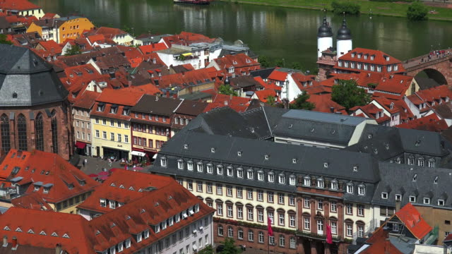 townscape with old bridge - neckar river stock videos & royalty-free footage