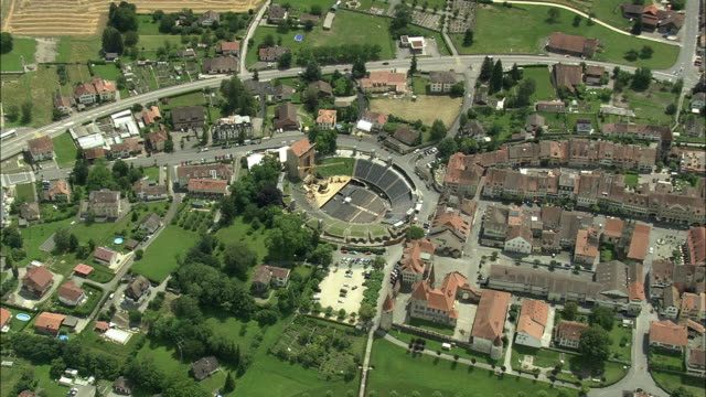 AERIAL ZI Townscape with Roman Amphitheatre, Avenches, Vaud, Switzerland
