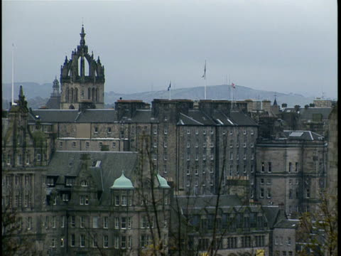 ws, townscape with st. giles cathedral spire, edinburgh, scotland - spire stock videos & royalty-free footage