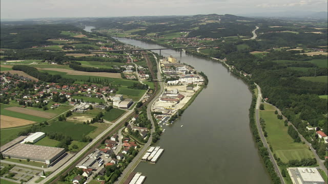 aerial townships along danube, passau, bavaria, germany - river danube video stock e b–roll