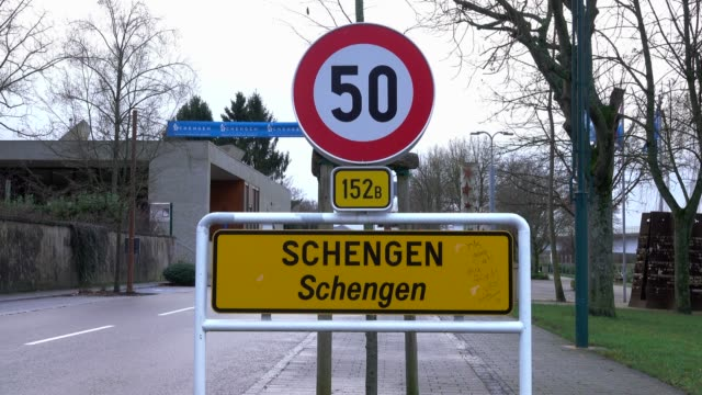Town-sign of Schengen, Canton of Remich, Moselle Valley, Luxembourg, Europe