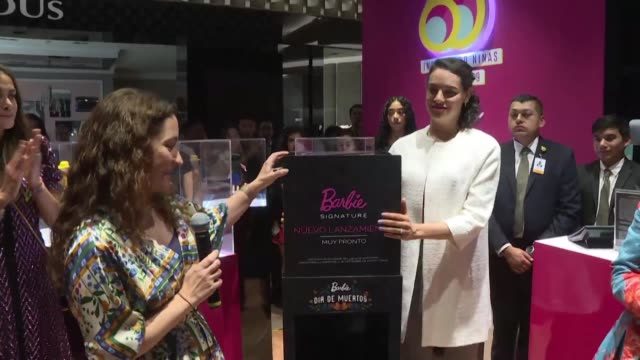 toy company mattel presents in mexico city the new dia de muertos inspired barbie doll which features traditional calavera catrina makeup and dress - dia stock videos & royalty-free footage