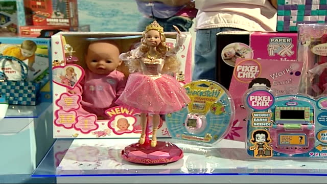 general views of toys on display england london int close up of 'princess' barbie doll pull out barbie doll mechanically dancing / little girl as... - doll stock videos & royalty-free footage
