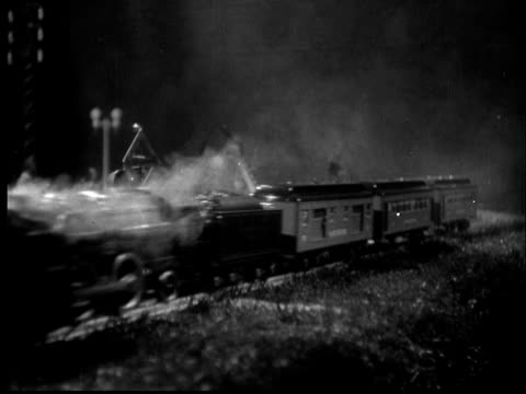 1935 film montage cu toy trains colliding - 1935 stock videos & royalty-free footage