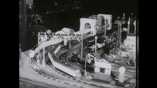 1939 toy trains go round on the track - railway track stock videos & royalty-free footage
