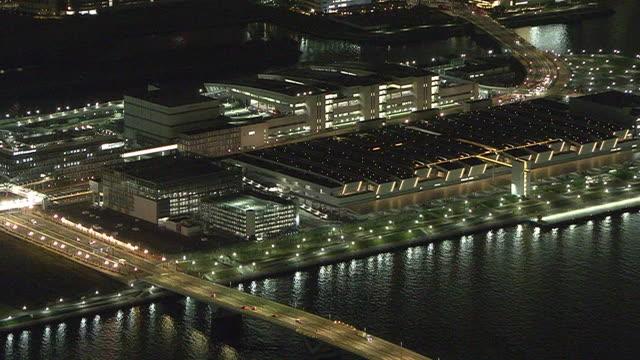 aerial, toyosu market at night, tokyo, japan - tokyo bay stock videos & royalty-free footage