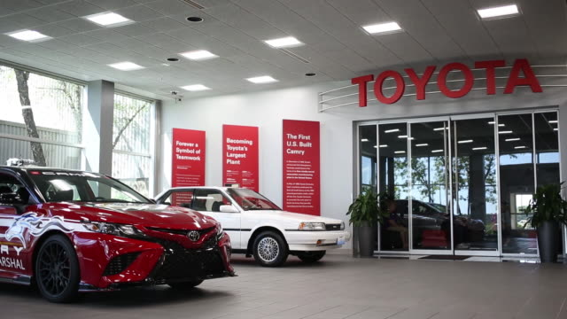 toyota camry sedans in toyota car showroom at toyota motor manufacturing kentucky in georgetown kentucky us on thursday august 1 2019 - kentucky stock videos & royalty-free footage