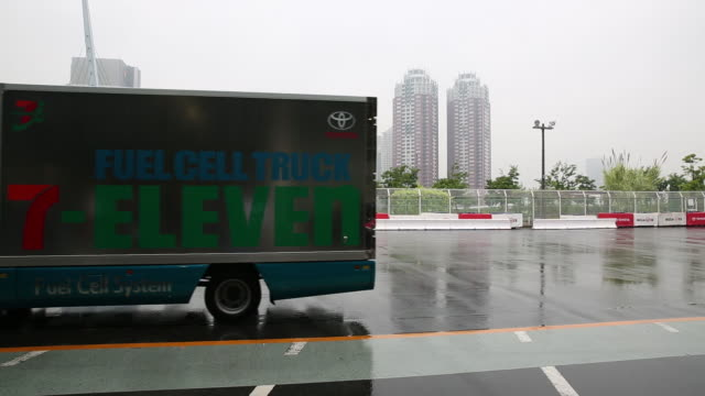 A Toyota Motor Corp fuel cell truck presentation at a news conference held by Toyota and SevenEleven Japan Co in Tokyo Japan on Wednesday June 6 2018