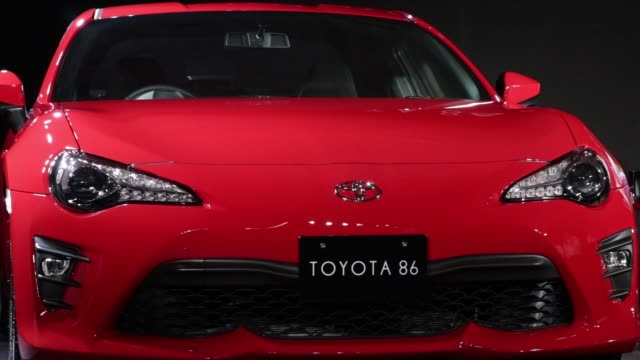 a toyota motor corp redesigned 86 vehicle stands on display during its unveiling at fuji speedway in oyama town shizuoka prefecture japan on tuesday... - launch event stock videos & royalty-free footage